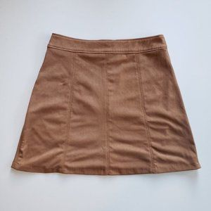 Bershka Tan Faux Suede A-Line Mini Skirt XS